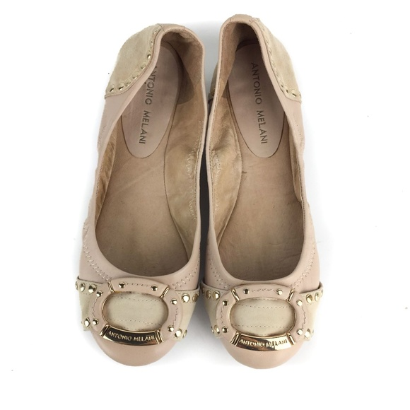 c981d68520f ANTONIO MELANI Shoes - Antonio Melani Cream Gold Leather Ballet Flats